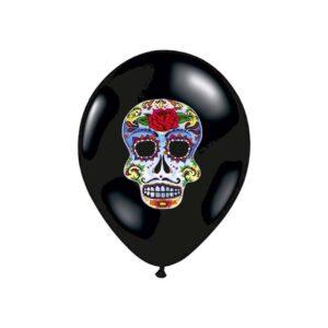 Ballon Latex Tête de Mort Florale