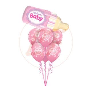 Bouquet de ballons bébé fille biberon