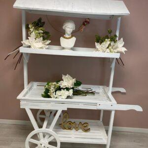 Charrette blanche mariage
